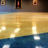 terrazzo floor - Polising and Staining Social Hall-St. John Bosco Catholic Church.