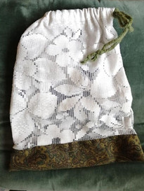 Reusable bag for fruits and veggies. Made from old curtains and repurposed materials.