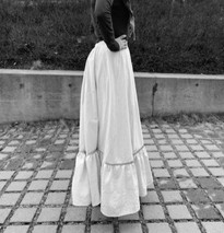 19th century-style underskirt made from old table cloth and curtains
