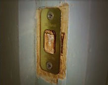 Shifting strike plates and deadbolt latches weakens door frame and can lead to home invasion