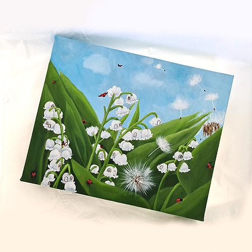 "Ladybirds - original oil on canvas - 10 x 8"""