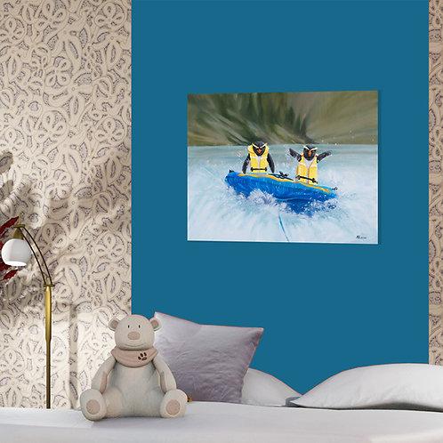 Penguin Caper - original oil on canvas