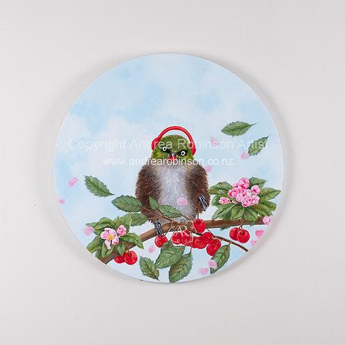 """Cherry Picker - original oil on 16"""" (405 mm) round canvas"""