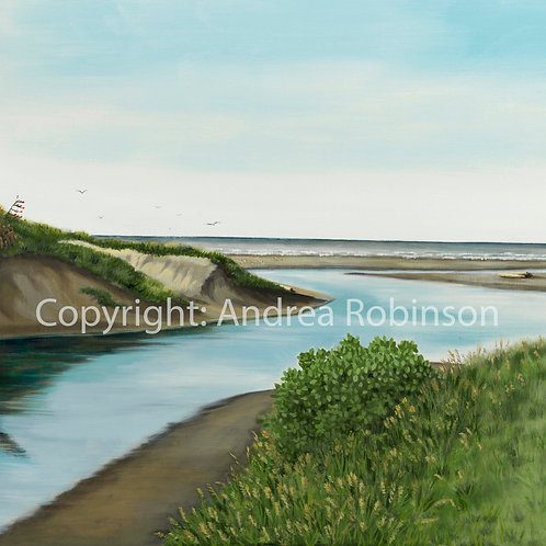Where the River meets the sea original oil on canvas