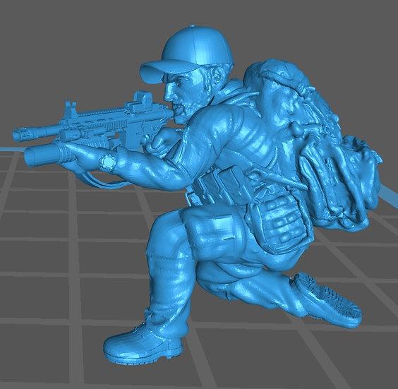 Force spéciale 3 avec casquette et HK416 lance grenade