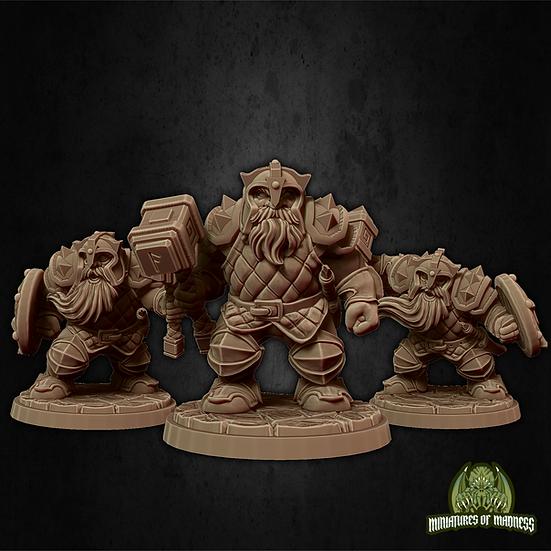 Set de 3 guerriers nains 1 avec casque