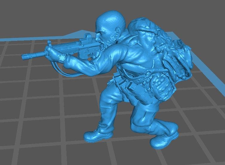 Force spéciale 6 tête nue et HK416