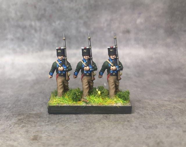1806 Infanterie légère prussienne 18mm soclage par 3