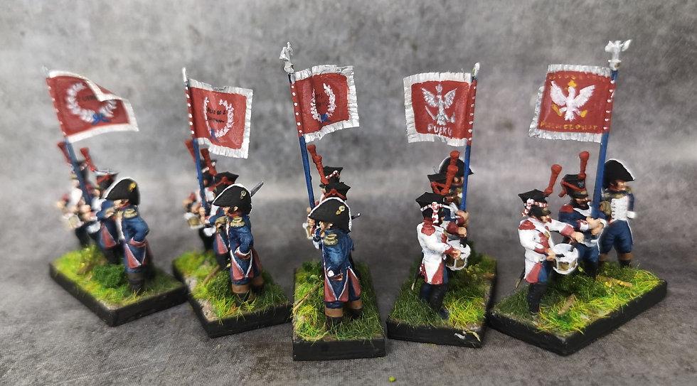 1812-1813 Infanterie de ligne polonaise commandement 18mm soclage par 3