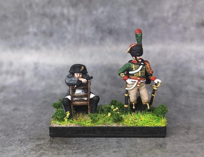 Napoléon assis avec chasseur de la garde