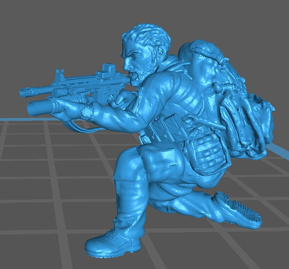 Force spéciale 3 tête nue et HK416 lance grenade