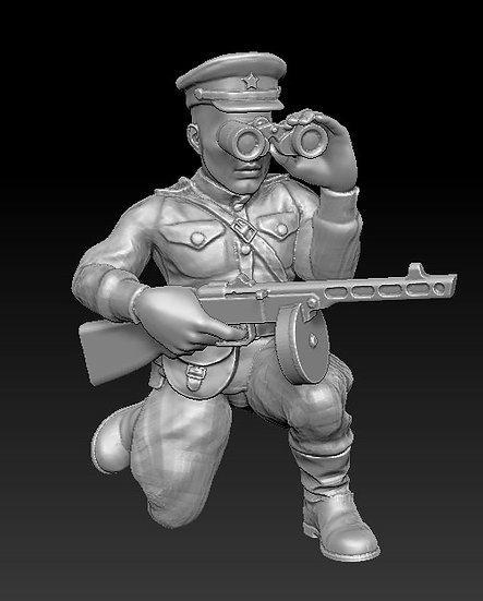 Officier russe avec jumelle ww2
