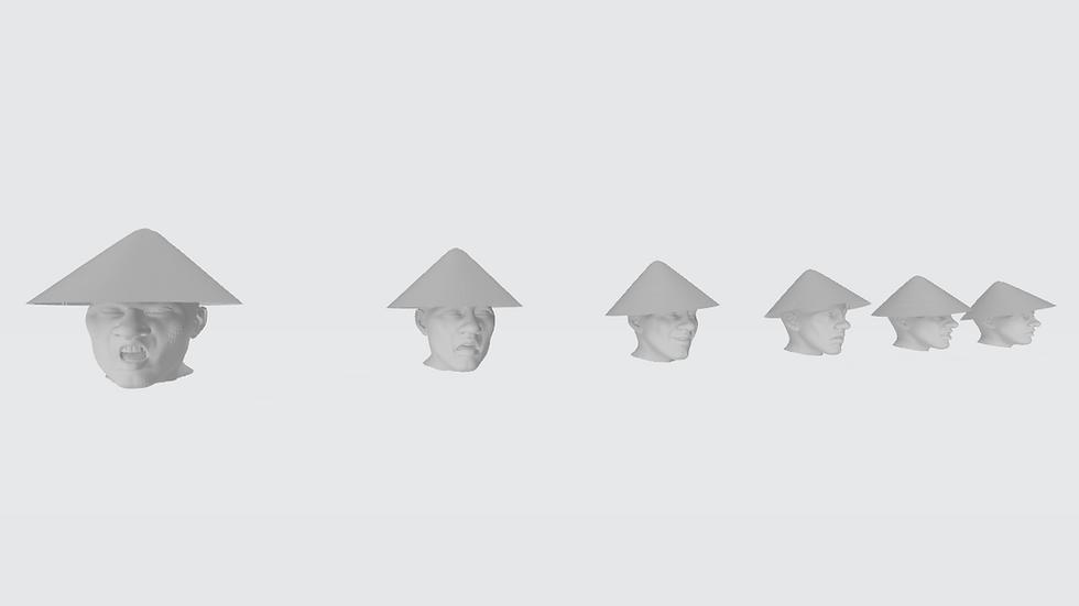 Têtes avec chapeau asiatique