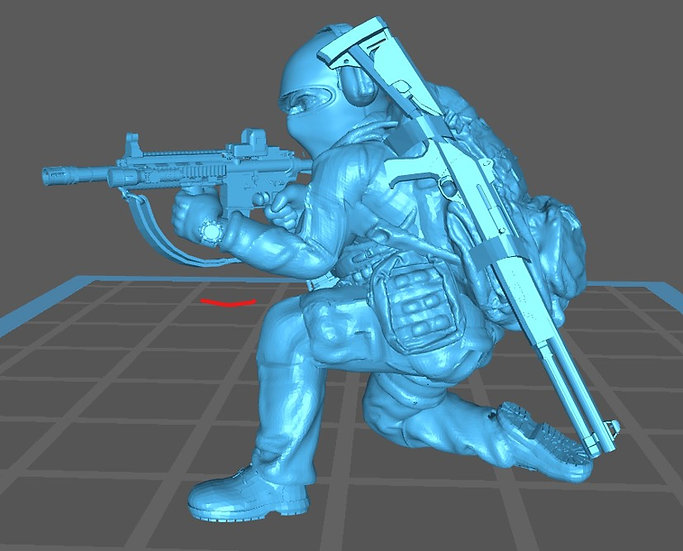 Force spéciale 3 avec cagoule, HK416 et fusil à pompe