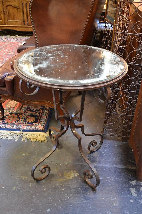 Stunning tall, mirrored iron side table