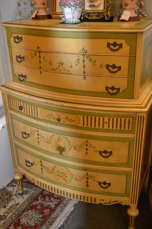 French antique hand painted bow front high boy dresser
