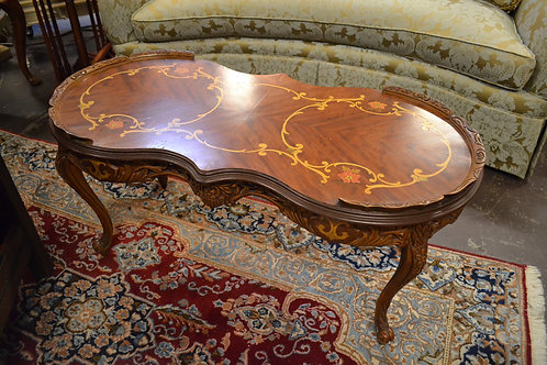 Mahogany inlay curved french style coffee table