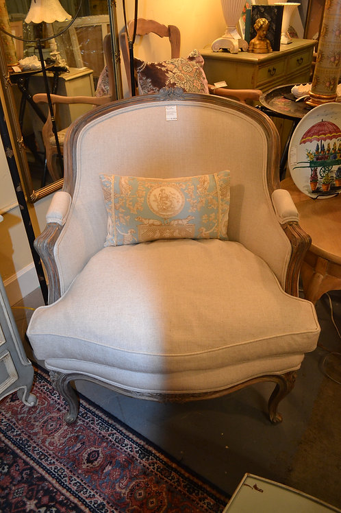 CUSTOM FRENCH CARVED LINEN ARM CHAIR, NEWLY UPHOLSTERED