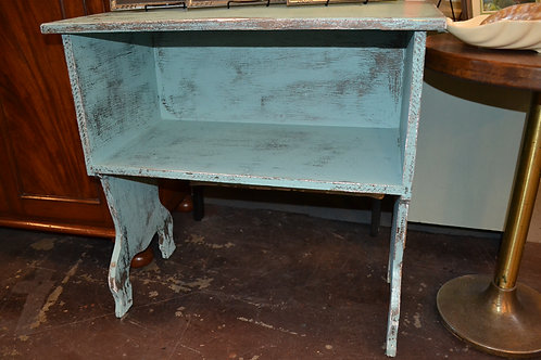 BLUE SHABBY TRESTLE BOOKCASE/ CONSOLE TABLE