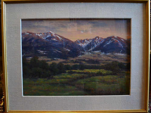 Art- Pastel, wonderful Montana mountain landscape, Paul Waldum