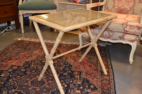 Painted Rattan Side Table