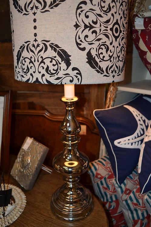Lamp- chrome turned base w/ cream/blk damask drum shade