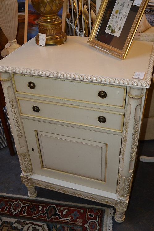 TALL CREME LARGER NIGHTSTAND, FRENCH STYLE