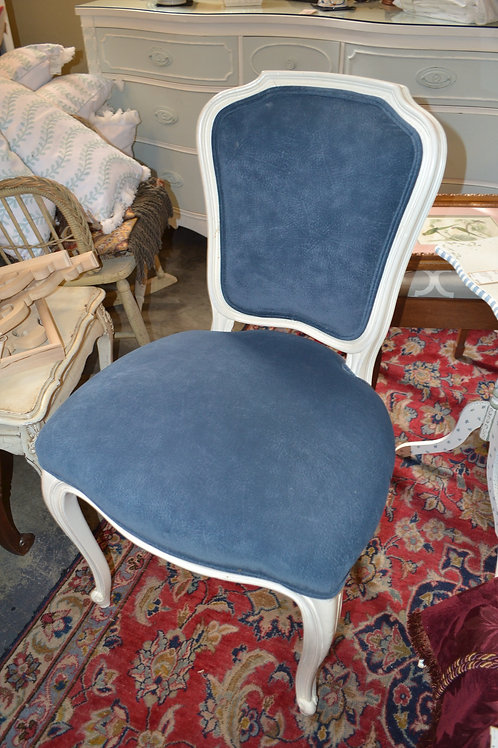 French painted desk chair, white w blue upholstery