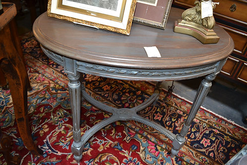OVAL FRENCH CARVED, WASHED SIDE OR FOYER TABLE