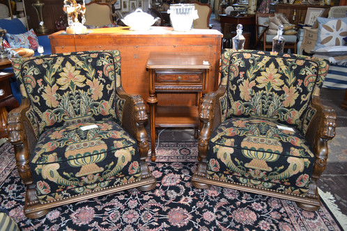 Antique, absolutely incredible, detailed hand carved lion armed chair with  high end designer upholstery, two available! Price each. 30