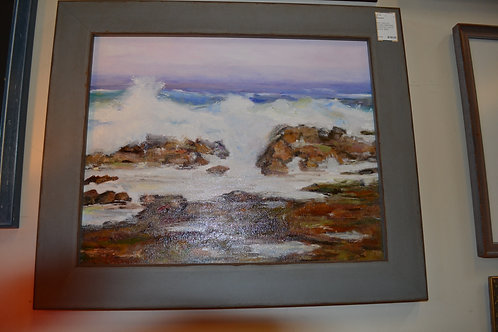 ART- ORIG OIL, OCEAN CRASHING ON ROCKS, VIOLET SKIES- 25x21