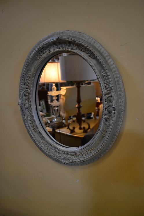 Mirror- Vintage white oval sculpted