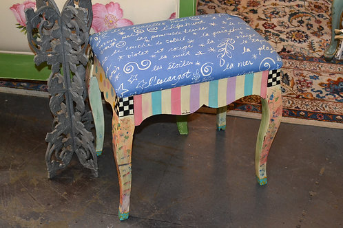 Whimsical hand painted stool