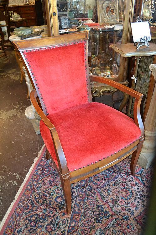 Star embellished walnut nailhead armchair