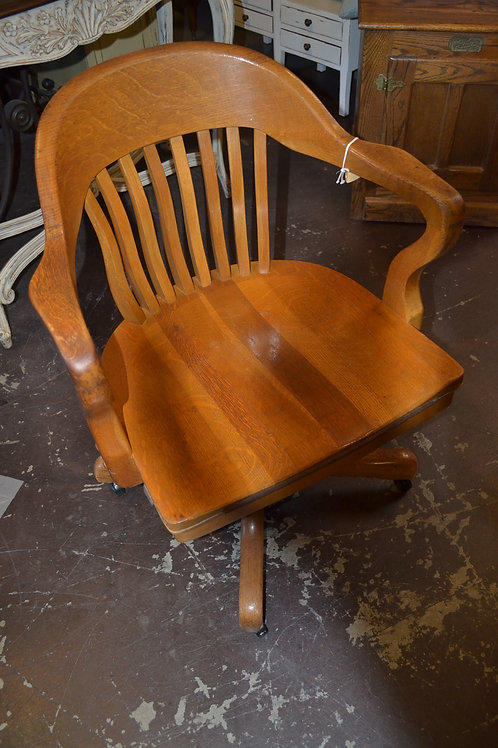 Antique oak barrel slat back desk chair