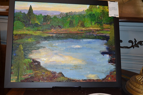 ART- ORIGINAL LOCAL ARTIST OIL, RIVER IN FOREST, 11x14