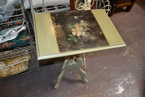 PAINTED SIDE TABLE W GREEN, BLACK, DAISIES