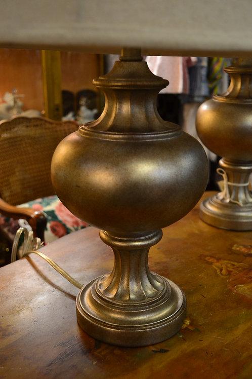 Lamp- silver gold urn w/pedestal, linen shade
