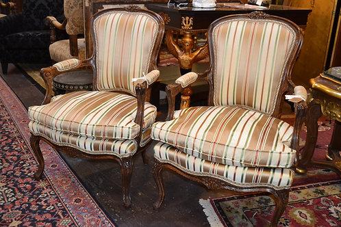 French Louis Silk Stripe Chair