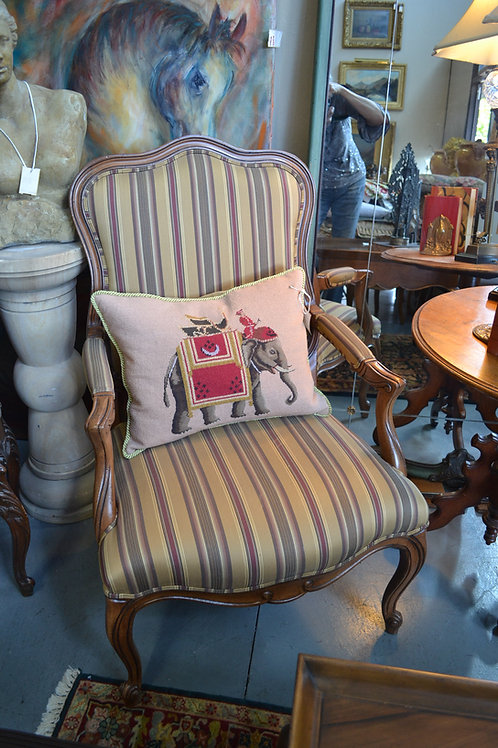 ETHAN ALLEN STRIPE FRENCH CARVED ARM CHAIR