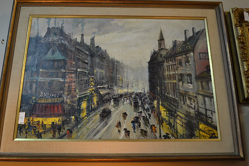 Oil of busy french street, (french Artist 1918-)