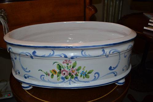 Gump's Italian porcelain hand painted oval cache pot
