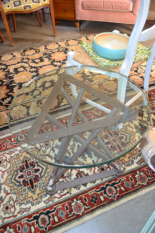 INDUSTRIAL METAL SIDE TABLE W/ THICK ROUND GLASS TOP