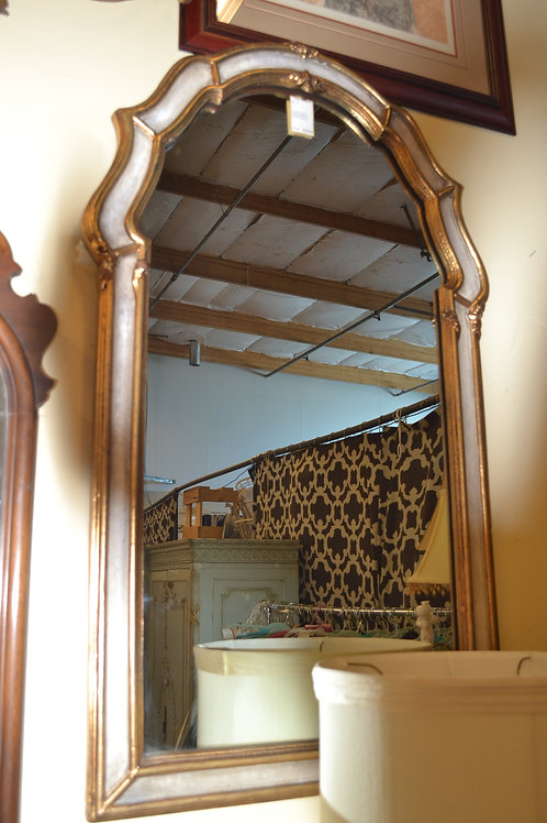 Carved gold cream arched mirror- 26x43