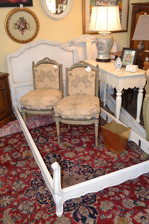Antique custom painted twin French style standard/twin bed frame