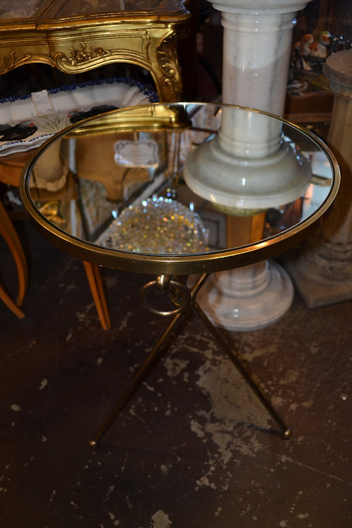 Mirrored tri leg folding side table, ant. brass