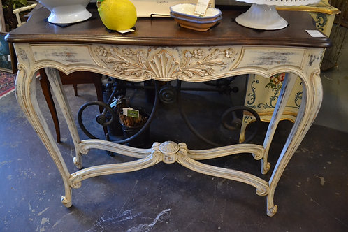 French highly carved trestle base sofa table