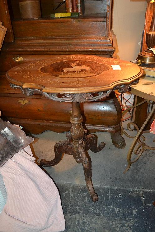 VINTAGE TILT TOP DEER INLAY SIDE TABLE