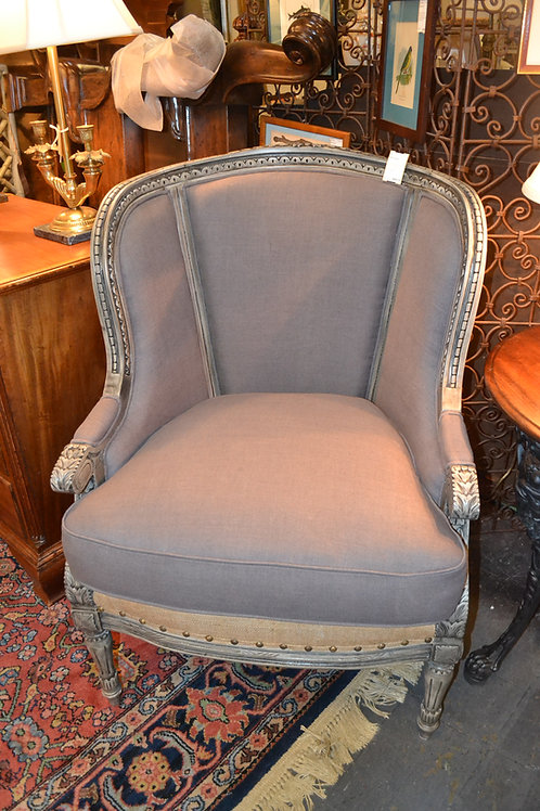FRENCH CARVED WING CHAIR, GRAY