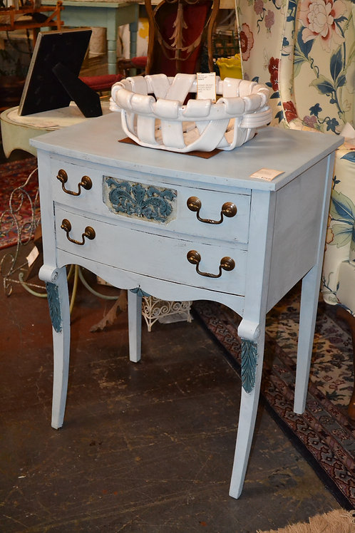 Whimsical blue painted vintage nightstand